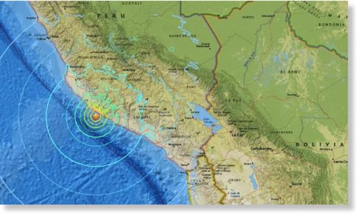 The earthquake struck off the Peruvian coast just after 4 a.m. local time Sunday.