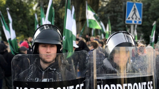 Nordic Resistance Movement gather during the protest in Gothenburg