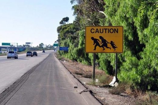 illegal immigration border sign