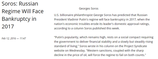 Russia's Bankruptcy Postponed, Soros Very Sad