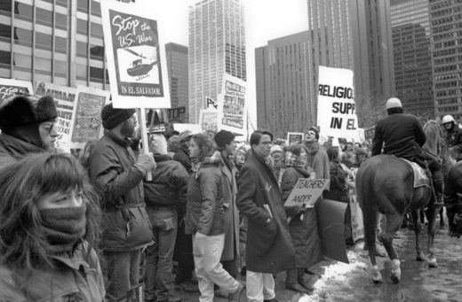 Protest against US involvement in the Salvadoran Civil War in Chicago, Illinois, in March 1989