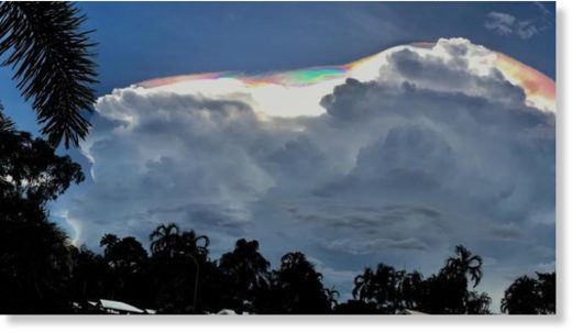 A spectacular cloud formation caught the attention of Darwin residents during Sunday's storms