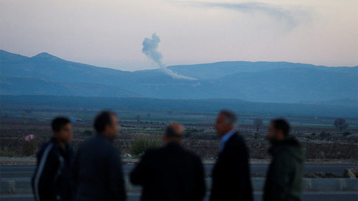 Smoke rises from the Syria's Afrin region