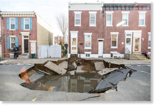 Massive sinkhole opens up on Taggert Street in Fishtown on January 19, 2018.
