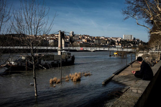 The swollen river Rhone in Lyon, France