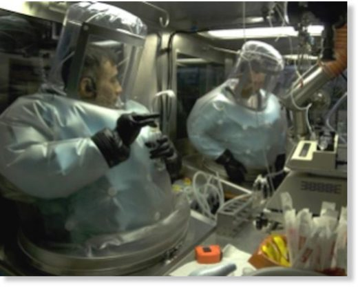 Technicians disseminate live biological agents