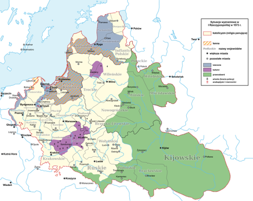 Religions in Polish-Lithuanian Commonwealth in 1573 map