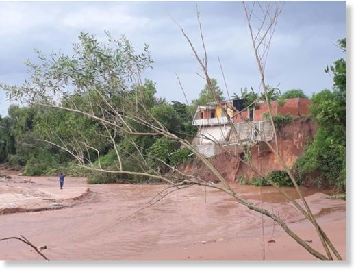 Flood damaged roads in Yacuiba, Bolivia, January 2018