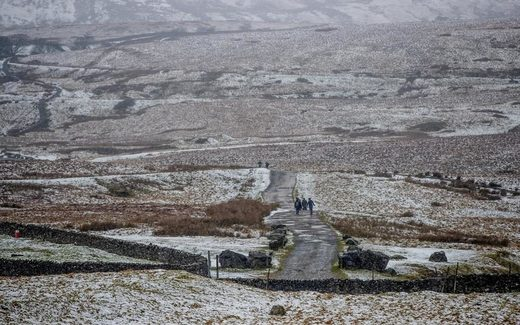 7 Winter walkers in the Snow at Ribblehead, North Yorkshire on Saturday, February 3
