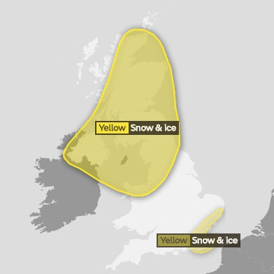 The Met Office's weather warning for Monday night into Tuesday shows a spell of rain, sleet and increasingly snow will move east across the UK. Snow and ice are likely to be seen in the south east
