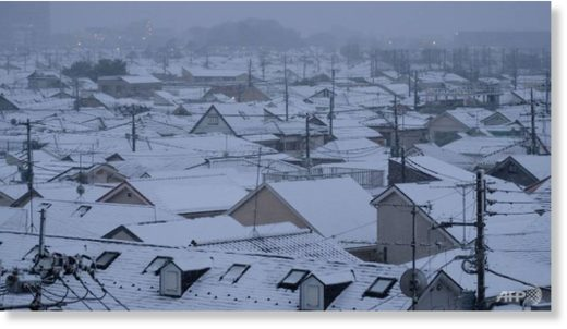 File photo shows roofs of houses covered with snow in Tokyo on Feb 2, 2018.