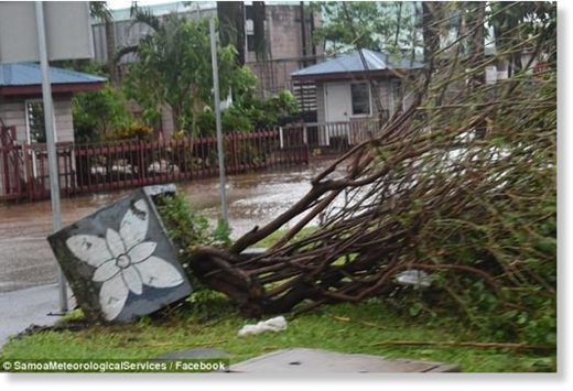 Power has been cut, main roads flooded and more than 200 people have been evacuated from their homes in Samoa