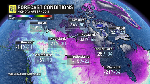 Dangerously cold wind chills of -65 strike parts of Canada