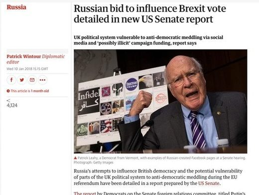 headline lying about Brexit Russians