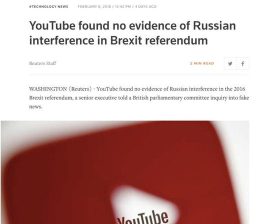 headline youtube no Russian interference
