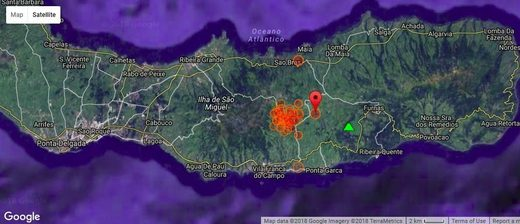 Location of the past days' earthquakes on Sao Miguel island