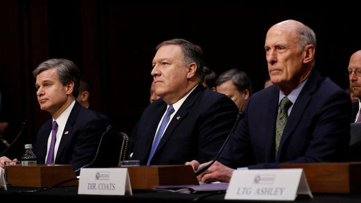 Christopher Wray Mike Pompeo Dan Coats