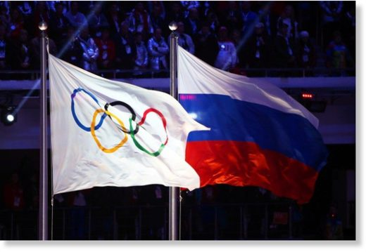 olympic and russian flags