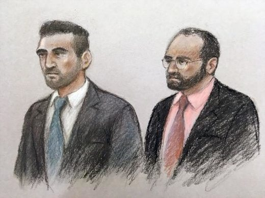(Court artist sketch of Vincent Tappu (left) and Mujahid Arshid )