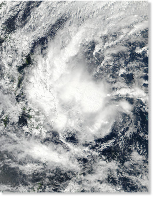 Tropical Storm Sanba was acquired from the VIIRS instrument aboard NASA-NOAA's Suomi NPP satellite as it continued moving over the Philippines.