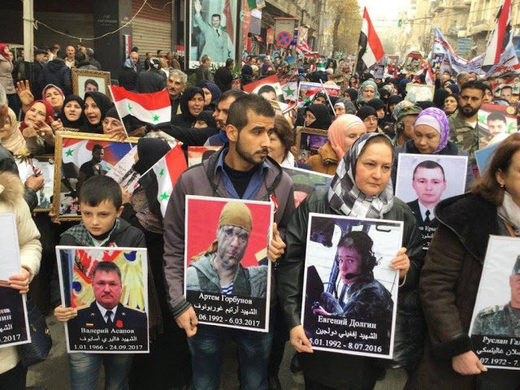 syrian march honor fallen russians, syrian immortal regiment