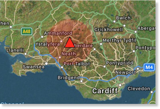 EPICENTRE: The quake struck eight miles from Swansea city centre