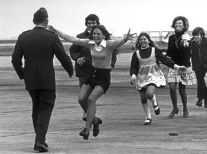 Released prisoner of war Lt. Col. Robert L. Stirm is greeted by his family at Travis Air Force Base in Fairfield, Calif., as he returns home from the Vietnam War, March 17, 1973.