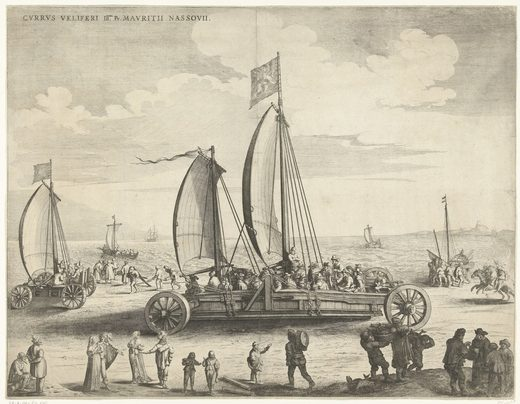 "To adjust to new weather patterns, the Dutch developed such inventions as the ""sailing car"" or ""land yacht,"" which used wind power to haul people and goods along beaches."