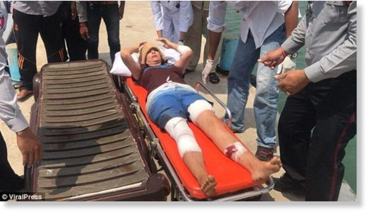 The reception teacher was stretchered into a waiting ambulance, and taken to hospital in Sihanoukville for treatment