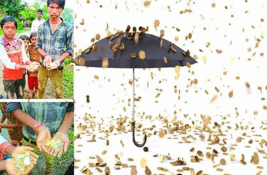 Coins rain down on Madhya Pradesh, India