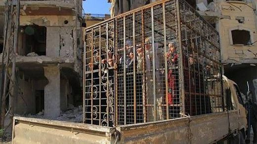 Women in cage used as human shields