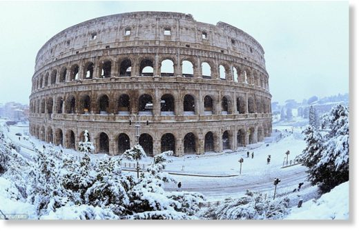 A rare snow storm in Rome on Monday disrupted transport, shut down schools and prompted authorities to call in the army to help clear the streets. Pictured, the Colosseum