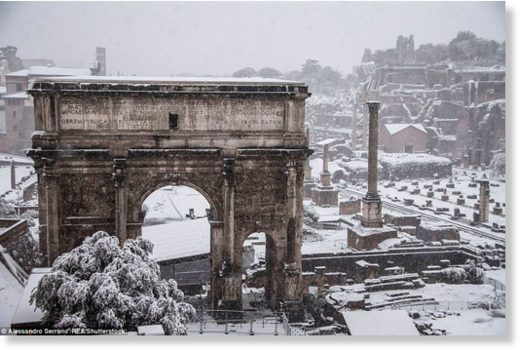 Residents woke to the city's first snowfall in six years on Monday as chilling winds from Siberia swept across Europe,