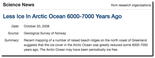 Less Ice In Arctic Ocean 6000-7000 Years Ago - ScienceDaily