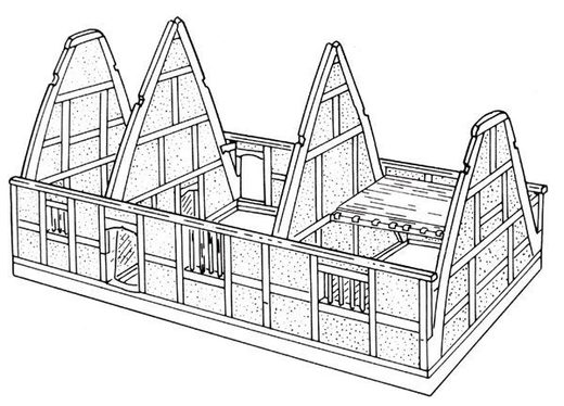 A typical Midlands cruck house, showing pairs of cruck blades rising from the sill beam at ground level to the apex of the roof in one sweep. The centre bay is an open hall, with service bay to the left and a two-storeyed chamber bay to the right.