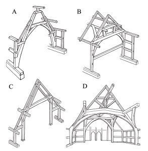 The four main types of Medieval timber-framed house found in the Midlands: (A) a cruck truss; (B) a box-framed truss; (C) an aisled truss; (D) a base-cruck truss, in which the cruck blades rise to a tie beam and do not form part of the roof.