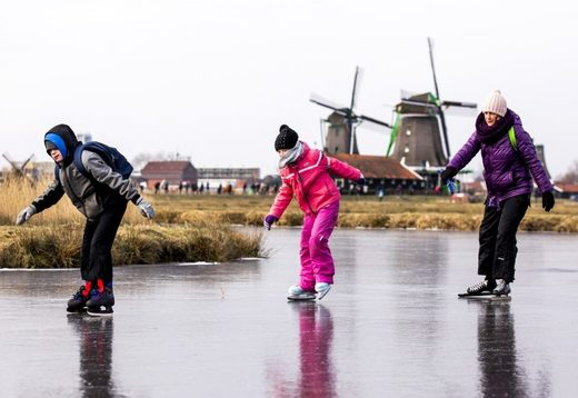 Skaters enjoyed the natural ice at the Dutch 'Zaanse Schans' near Zaandam on Thursday.