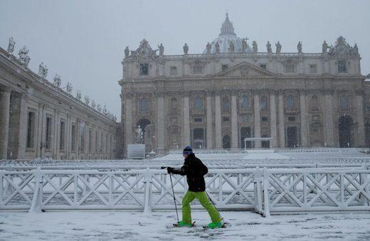 This man found an interesting way to get around during a heavy snowfall in Saint Peter's Square at the Vatican on Monday.