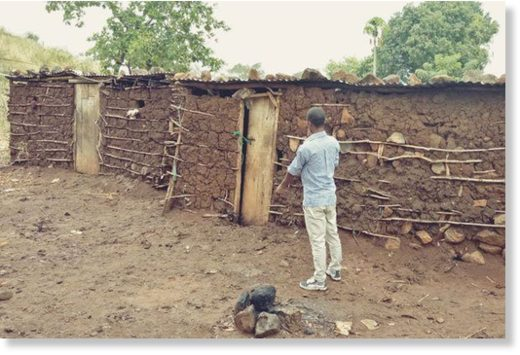 The houses where a woman and her two children died after she they struck by lightning in Tharaka Nithi County on Friday.