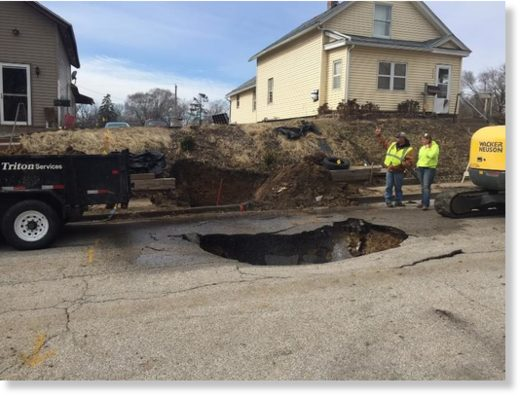 Sinkhole in the 1100 block of Brown Street in Davenport. 3/2/18