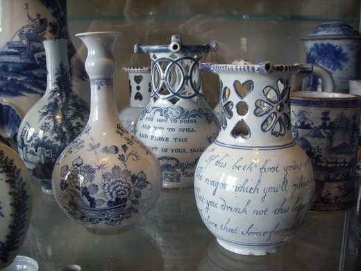 Puzzle jugs on display at the Victoria and Albert Museum in London.