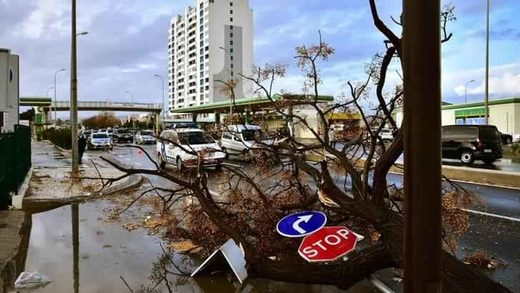 Tornado damage in Faro, Portugal
