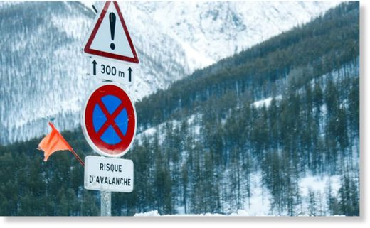 A sign in the Savoie region, France, warns of the avalanche risk.