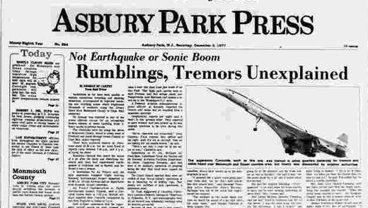 Unexplained booms in NJ 1977