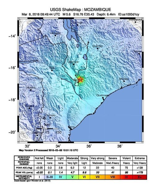 Rare M5.6 earthquake hits Mozambique followed by M5.2