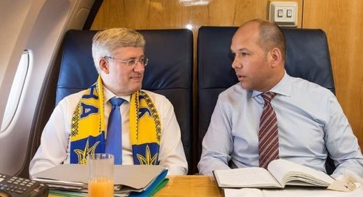 Ex PM Harper with the Canadian Ukrainian Congress Paul Grod