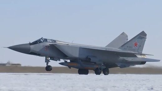 MiG-31 takes off with Kinzhal missile attached