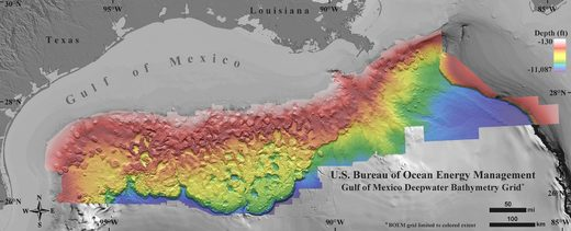 high-resolution map floor of the Gulf of Mexico