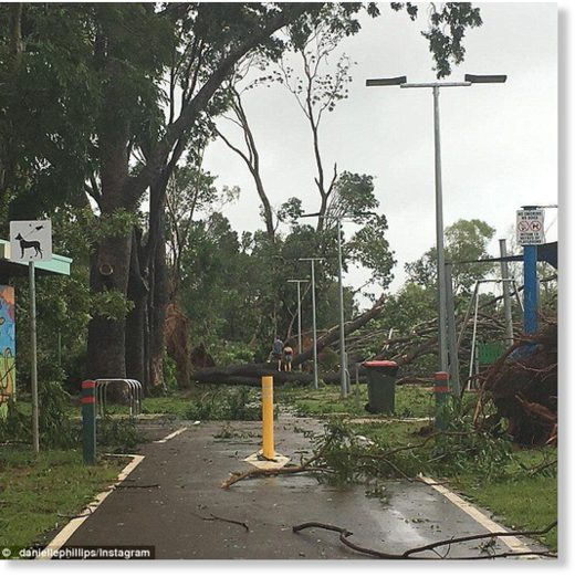 Residents have been told to stay inside and emergency services are only responsible for critical incidents until the category two storm passes