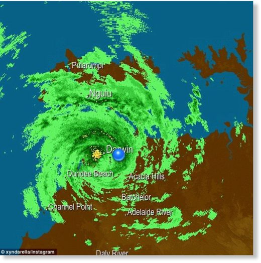 The eye of Tropical Cyclone Marcus has passed over Darwin and is heading towards the Kimberly region